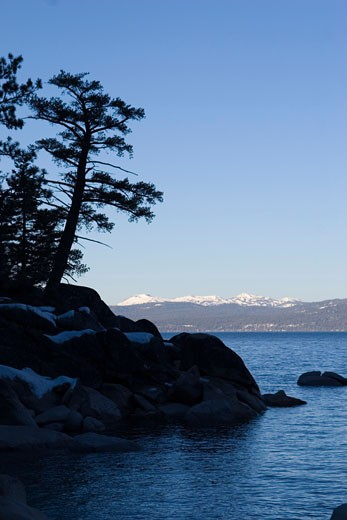 Sunrise on the north shore of Lake Tahoe in winter : Stock Photo