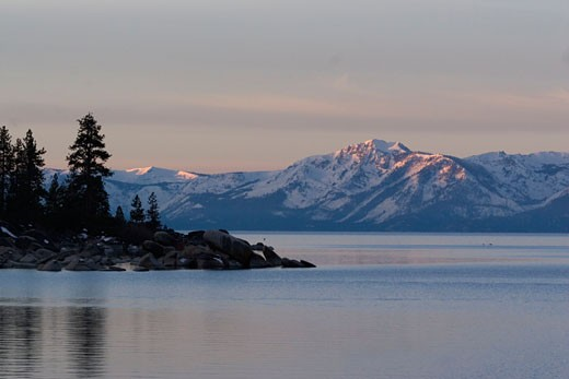 Lake Tahoe and Mt Tallac at dawn from the east shore : Stock Photo