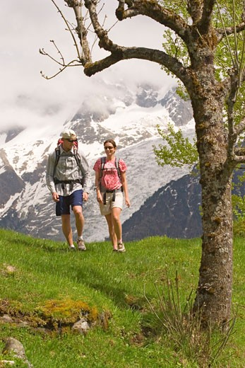 Stock Photo: 1989-3724 Two people hiking by Mont Blanc near Les Houches France