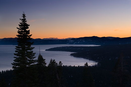 Sunset over Lake Tahoe in winter in California : Stock Photo