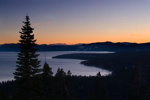 Stock Photo: 1989-3981 Sunset over Lake Tahoe in winter in California