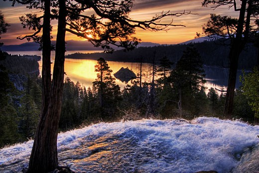 Stock Photo: 1989-4239 Blurry Eagle Falls and Emerald Bay at dawn on Lake Tahoe in California