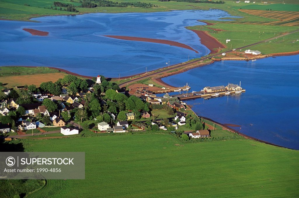 Stock Photo: 1990-4856 Aerial of the town of Victoria, Prince Edward Island, Canada