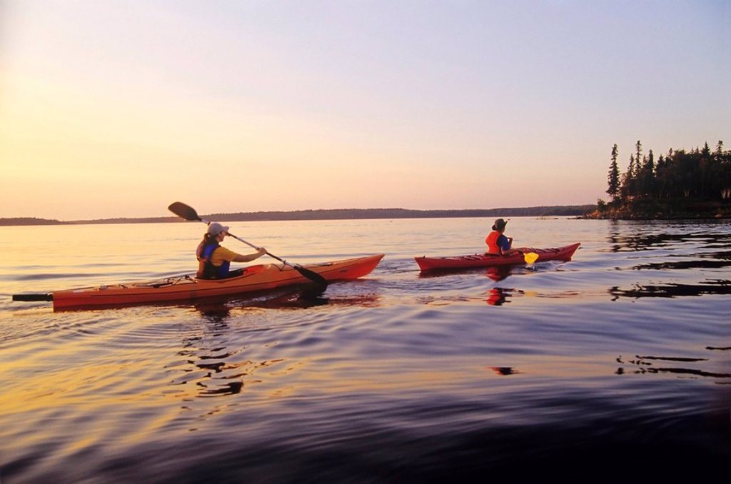 Kayaking, Whiteshell Provincial Park, Manitoba, Canada : Stock Photo