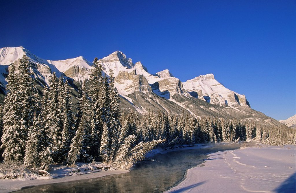 Mount Rundle and the Bow River in the Bow Valley near Canmore, Alberta, Canada : Stock Photo