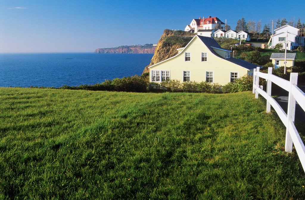 Stock Photo: 1990-10162 Town of Perce, Gaspe Peninsula, Quebec, Canada