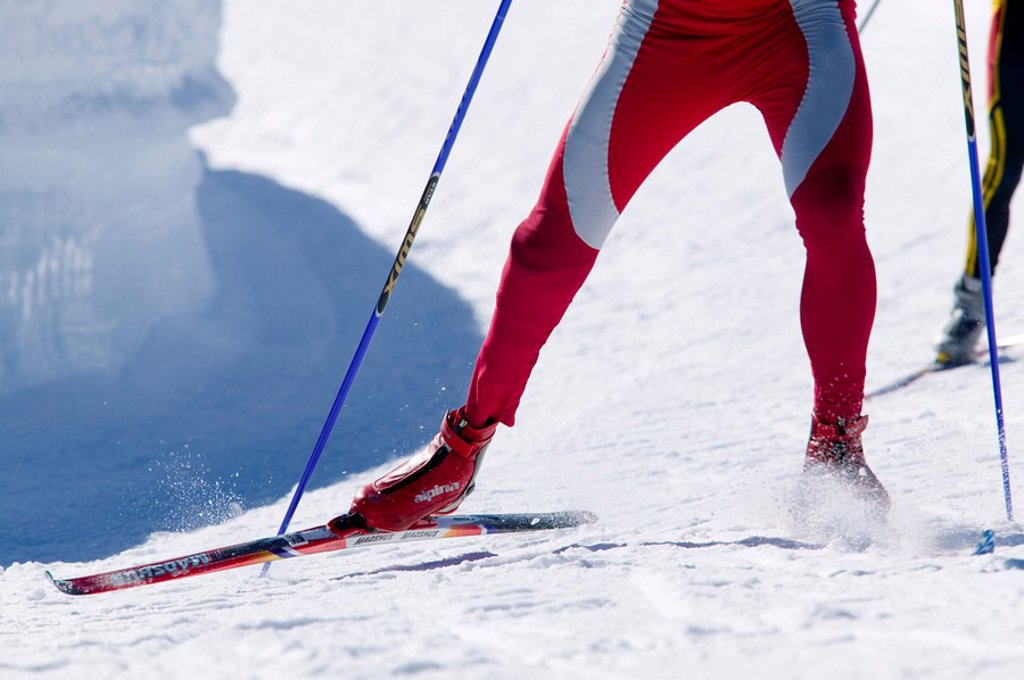 Stock Photo: 1990-10248 Cross Country skier negotiates a turn in the IPC Paralympic games at Mt  Washington, Vancouver Island, British Columbia, Canada
