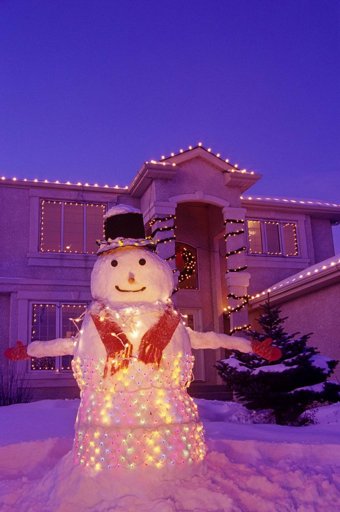 snowman at Christmas, Winnipeg, Manitoba, Canada : Stock Photo