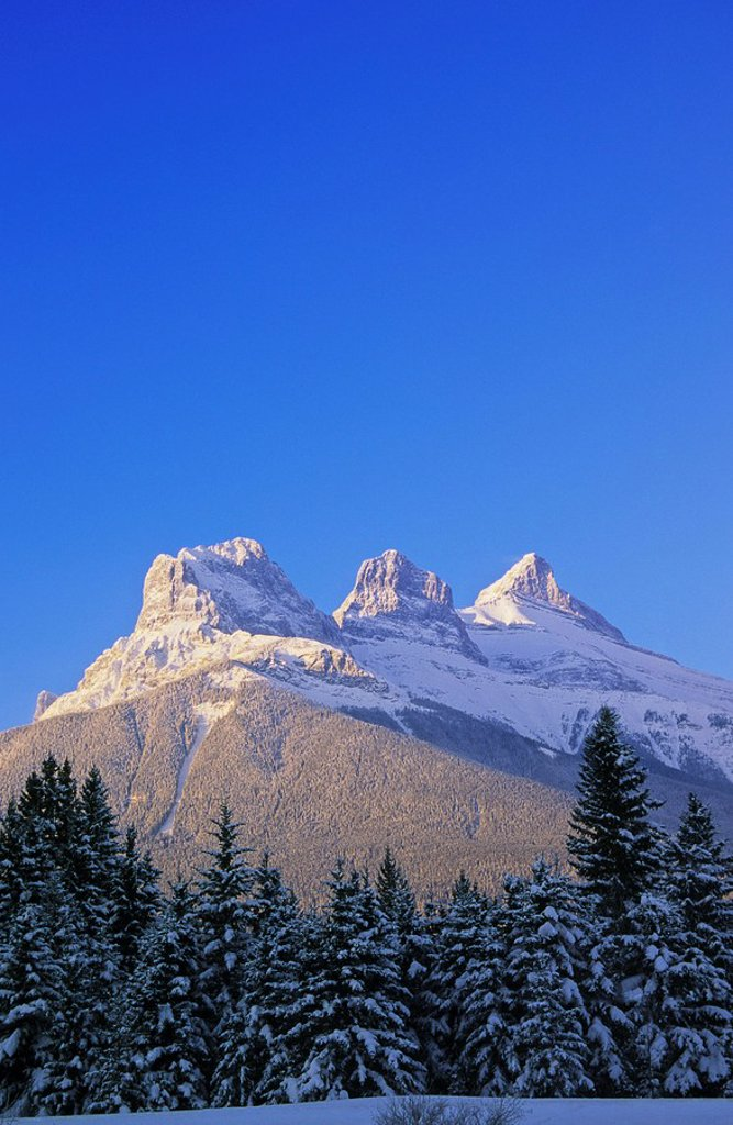 Three Sisters Mountains, Canmore, Alberta, Canada : Stock Photo