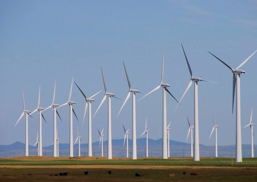 Stock Photo: 1990-11417 Wind Turbines  When you drive through southern Alberta you can see majestic wind turbines throughout the district  These wind turbines power hundreds of homes and businesses  Sailboat design inspired the first windmill but modern wind technology is inspir