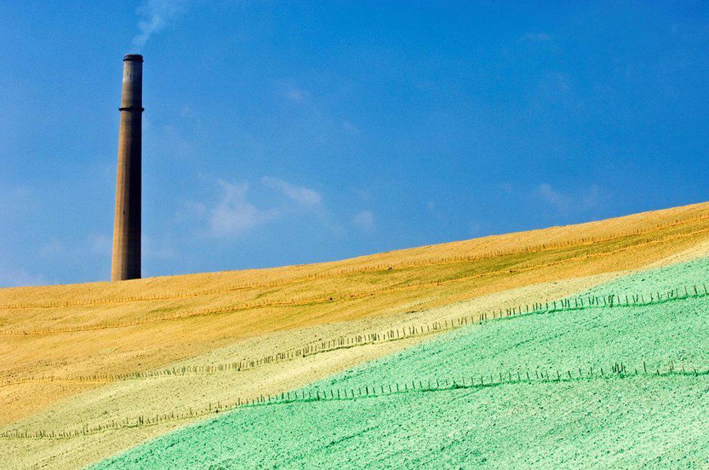 Stock Photo: 1990-12018 Vale INCO slag pile re-greening project- Phase 2- Revegetated slopes  Sudbury, Ontario, Canada