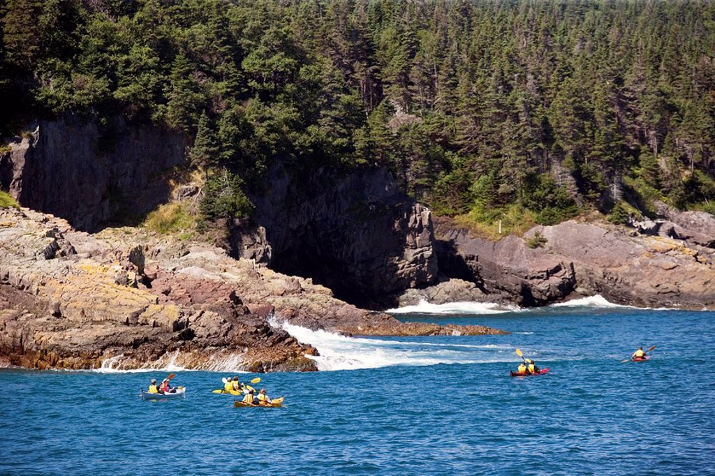 Stock Photo: 1990-12321 Kayaking, Witless Bay Ecological Reserve, Newfoundland, Canada, people, Coastline