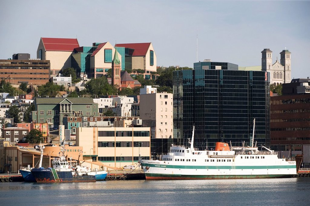 Stock Photo: 1990-12348 The Rooms, St  John´s, Harbour, Newfoundland, NL, Canada, waterfront