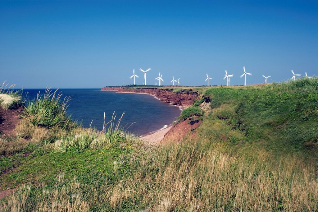 Wind Turbines at North Cape, Prince Edward Island, Canada, alternate energy, wind energy : Stock Photo