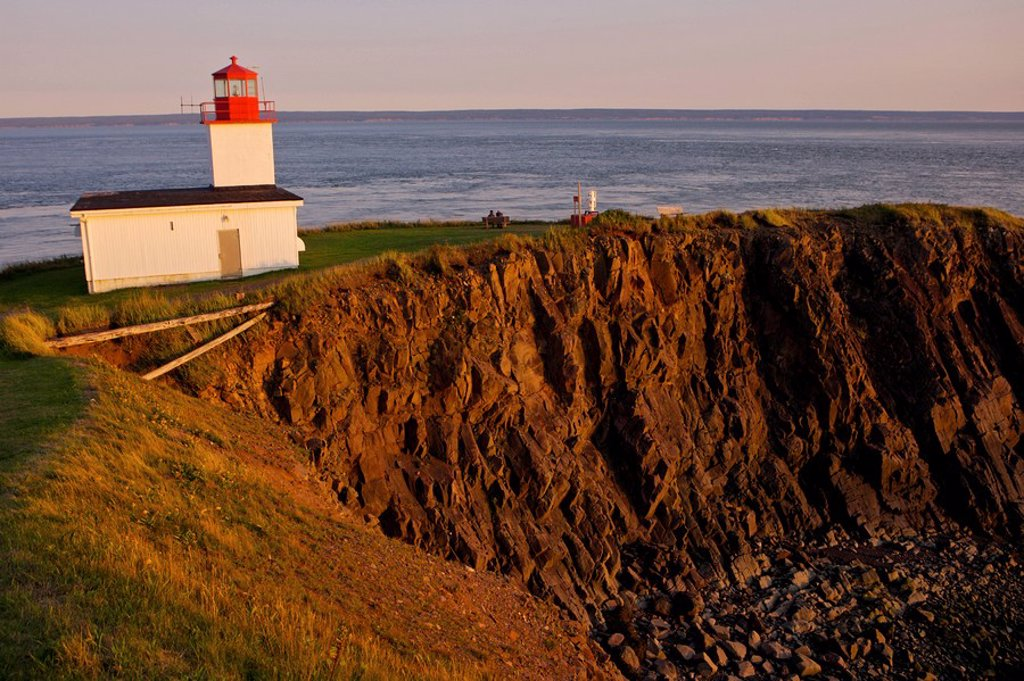 Stock Photo: 1990-13591 Cape d´Or Lighthouse at sunset, Cape d´Or, Cape Chignecto, Bay of Fundy, Fundy Shore Ecotour, Glooscap Trail, Highway 209, Minas Channel, Nova Scotia, Canada