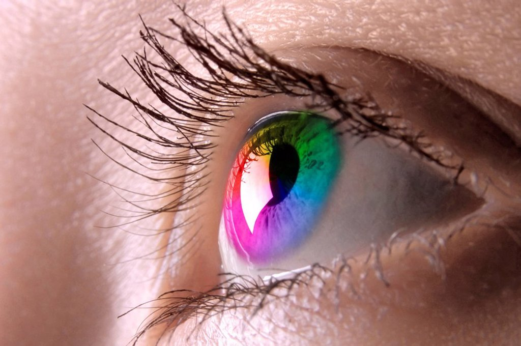 Colorful female eye macro photography Eyesight Contact lens Vision Biometrics concept : Stock Photo