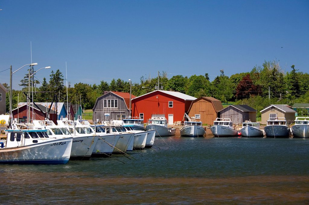 Boats in North Rustico Harbour, Prince Edward Island, Canada : Stock Photo