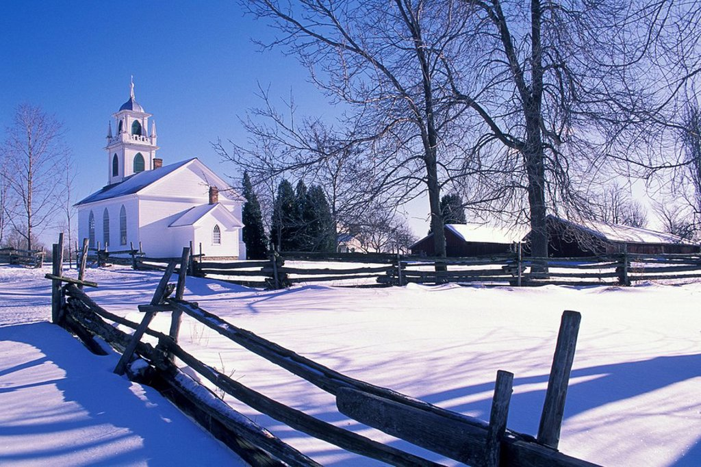 Stock Photo: 1990-14135 Christ Church at Upper Canada Village in winter, Morrisburg, Ontario, Canada. Upper Canada Village is a heritage park on the banks of the St. Lawrence River which depicts life in the 1860´s in a rural 19th century village in Upper Canada.