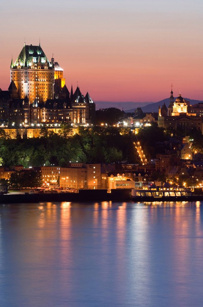 Stock Photo: 1990-1420 Chateau Frontenac Hotel from across St  Lawrence River at evening twilight, Quebec, Canada