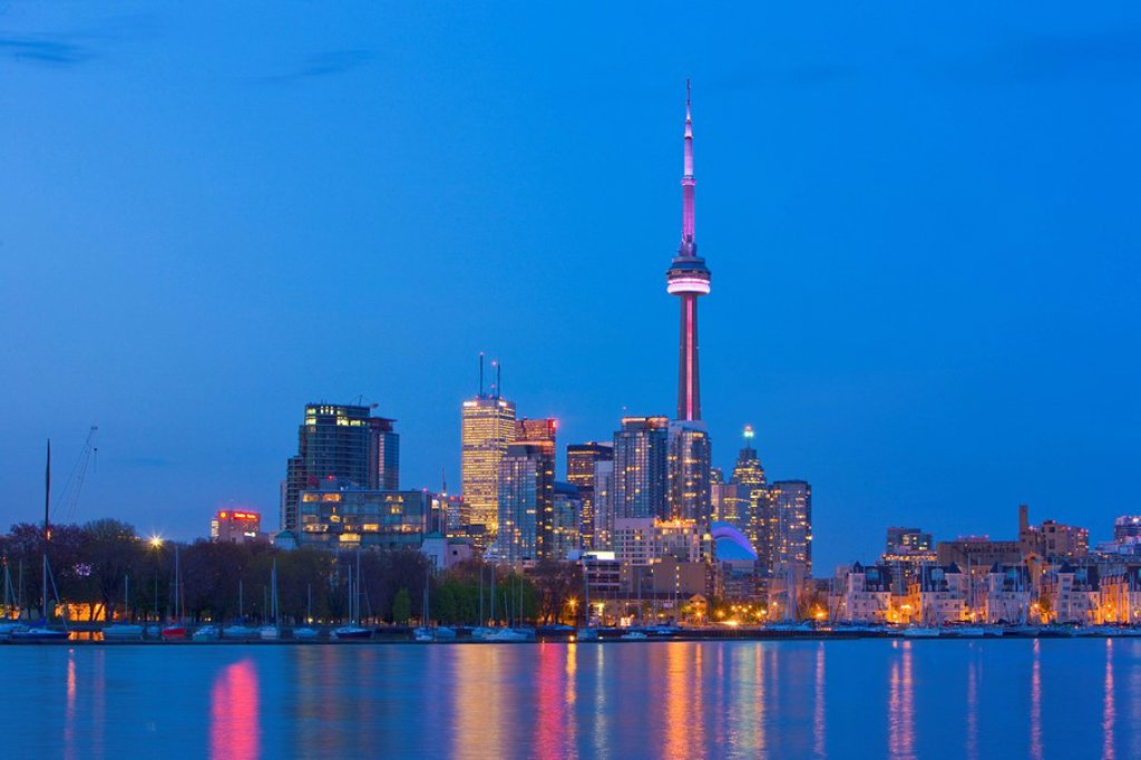 Skyline of Toronto at dusk seen from Ontario Place, Toronto, Ontario, Canada : Stock Photo
