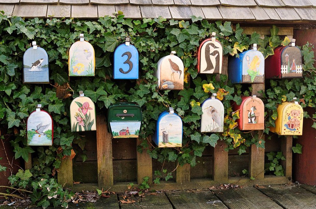 Stock Photo: 1990-14643 Painted mailboxes for houseboat residents, Granville Island, Vancouver, British Columbia, Canada