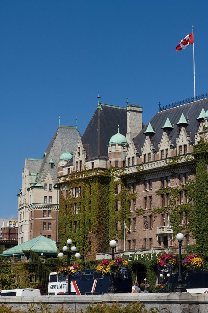 Government Street and Empress Hotel with bus parked in front, Victoria, Vancouver Island, British Columbia, Canada : Stock Photo
