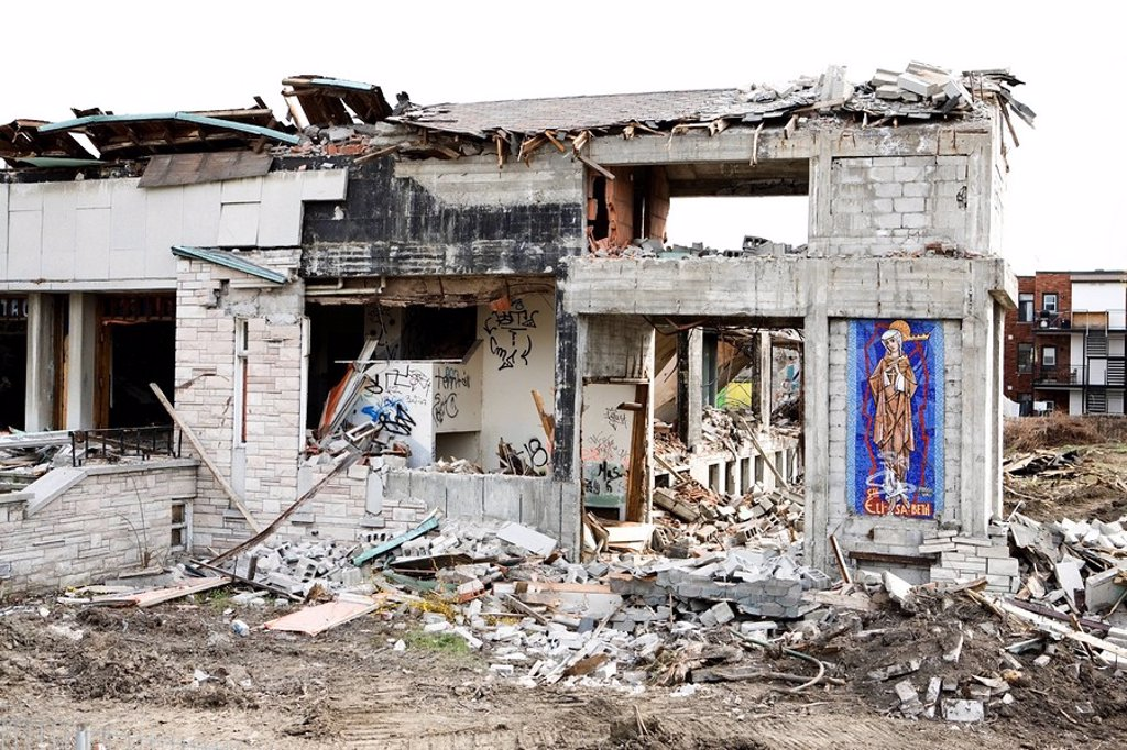 St. Elizabeth Church being demolished, Montreal, Quebec, Canada : Stock Photo