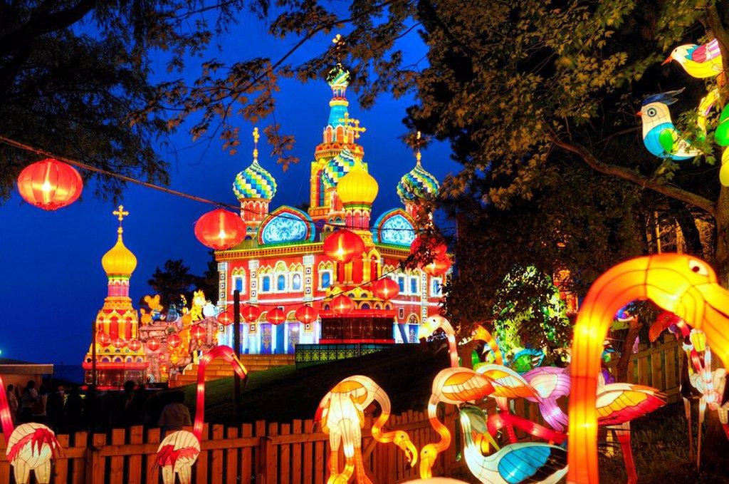 Stock Photo: 1990-15174 Chinese Lantern Festival 2008, colorful, building illumination glowing at night, Ontario Place, Toronto, Canada