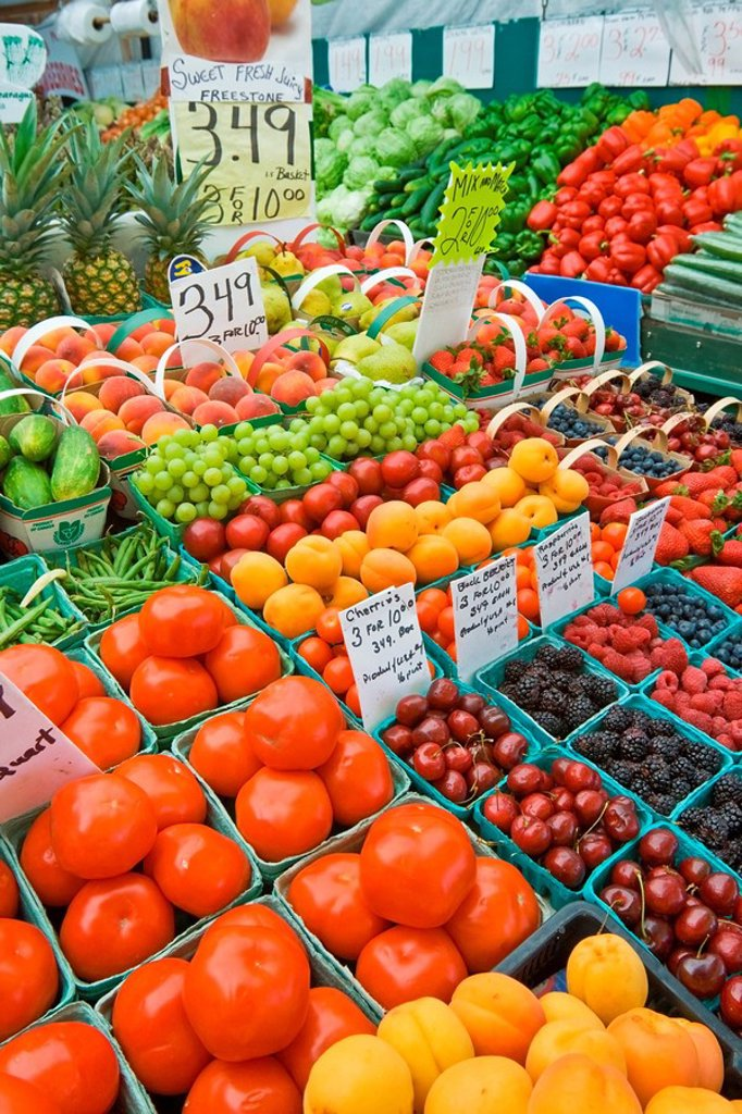 Fruit and vegetable stand in the Parkdale Market, Ottawa, Ontario : Stock Photo