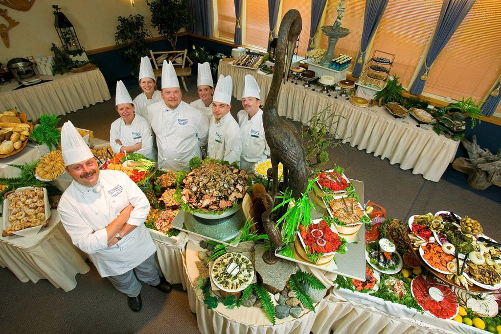 Seafood buffet, West Coast style, created under the watchful eyes of celebrity chefs, Comox Valley, Vancouver Island, British Columbia, Canada : Stock Photo