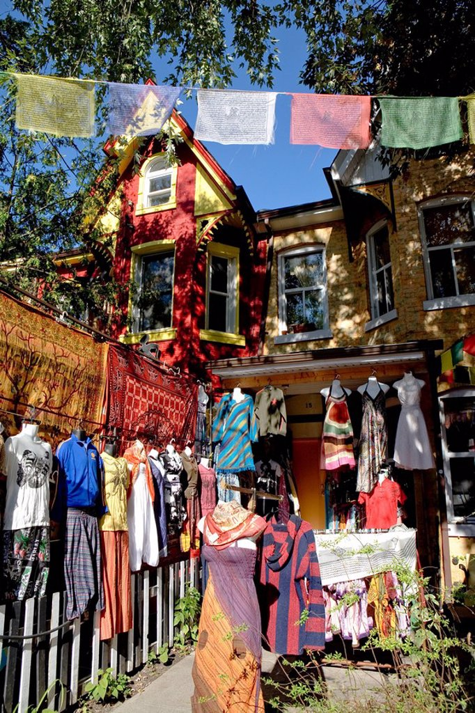 Outdoor display of clothing store, Kensington Market district, Toronto, Ontario, Canada : Stock Photo