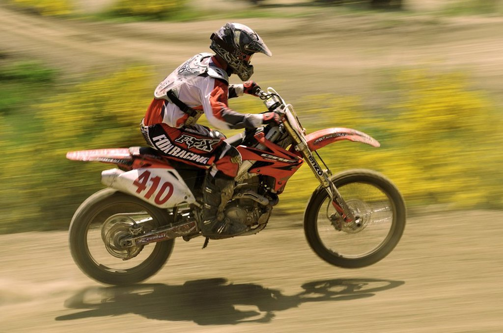 Motocross racer at Nanaimo Wastelands, Nanaimo, Vancouver Island, British Columbia, Canada : Stock Photo