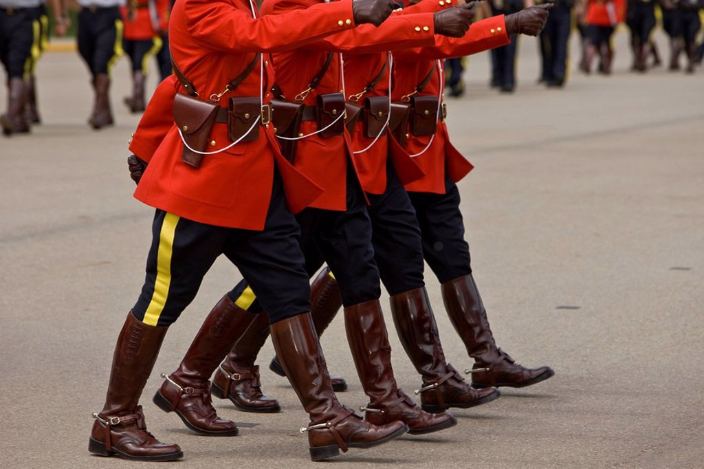 Stock Photo: 1990-15680 Marching during the Sergeant Major´s Parade and graduation ceremony at the RCMP Academy, Regina, Saskatchewan, Canada