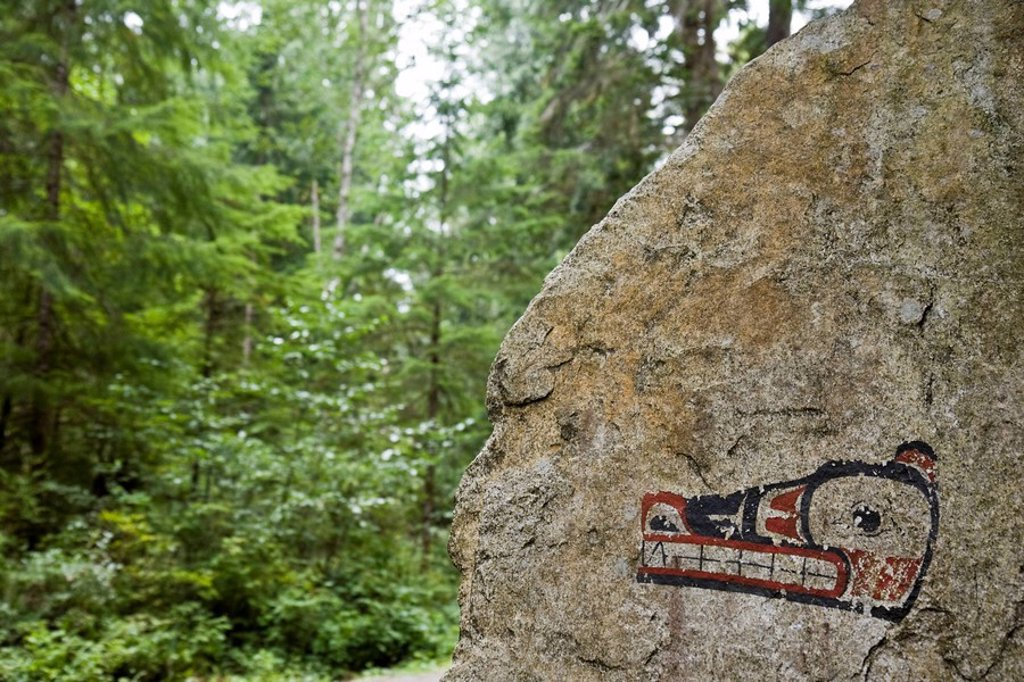 Pictograph on rock in Skookumchuck Narrows Provincial Park near town of Egmont on the Sunshine Coast, British Columbia, Canada : Stock Photo