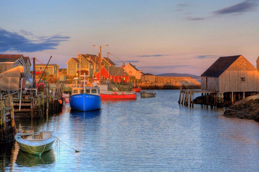 Sunset over fishing village, Peggy´s Cove, Nova Scotia, Canada : Stock Photo