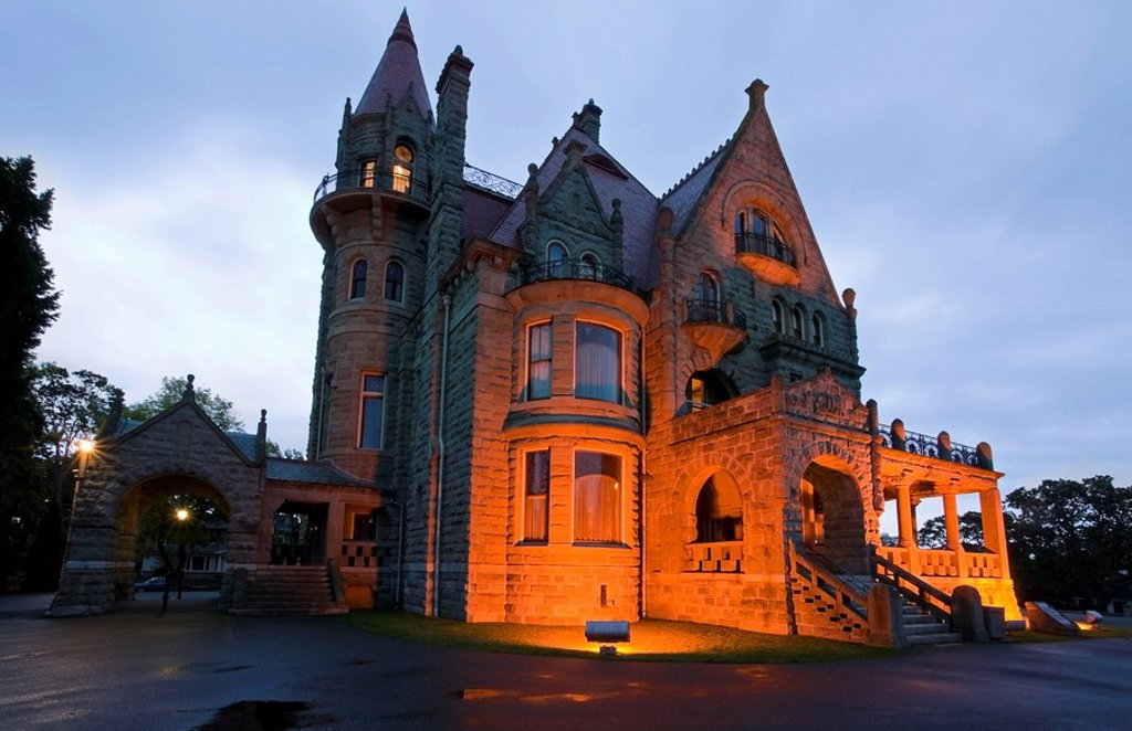 Craigdarroch Castle, a Victorian_era mansion built by coal baron Robert Dunsmuir in the 1890s includes over 4 floors and 39 rooms. The castle is now owned by the Craigdarroch Castle Historical Museum Society. Victoria, Vancouver Island, British Columbia, : Stock Photo