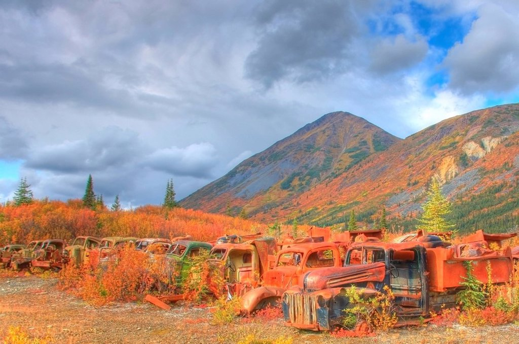 Stock Photo: 1990-17333 The Army Dump, also known as The Deadlines up the North Canol Road, Yukon. Located near MacMillin Pass.