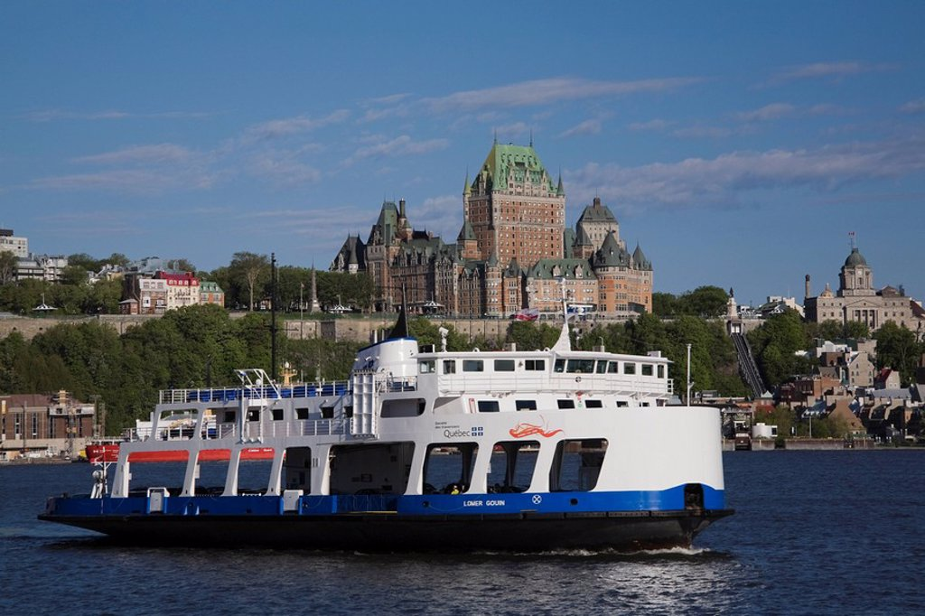 View of Ferry boat and Old Quebec City skyline, Quebec, Canada : Stock Photo