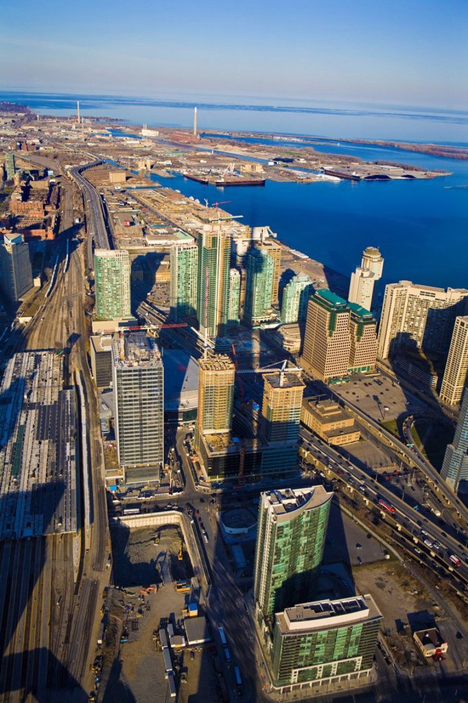 Toronto Harbourfront from CN Tower, Toronto, Ontario, Canada : Stock Photo