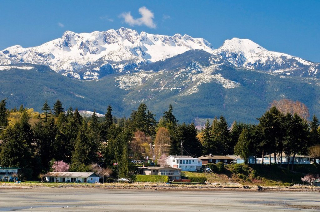 Snow_capped Mount Arrowsmith looms over the beach at Parksville BC. : Stock Photo