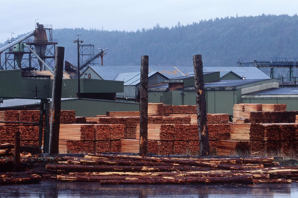 Stock Photo: 1990-22148 Doman lumber shipping area, Ladysmith, British Columbia, Canada