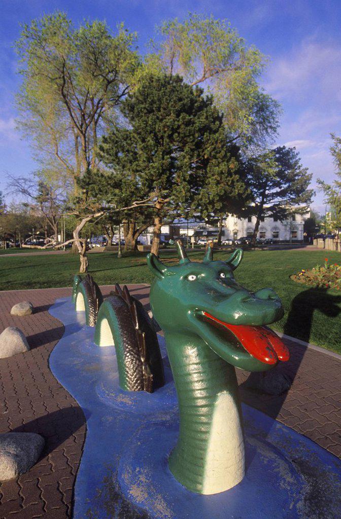 Stock Photo: 1990-22521 Ogopogo sculpture, the legendary lake creature, downtown Kelowna, British Columbia, Canada