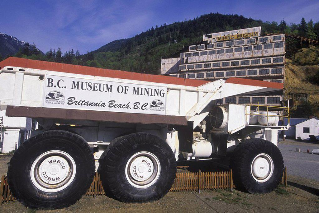 BC Mining Museum, Brittania Beach on Highway 99, giant mining truck, British Columbia, Canada : Stock Photo