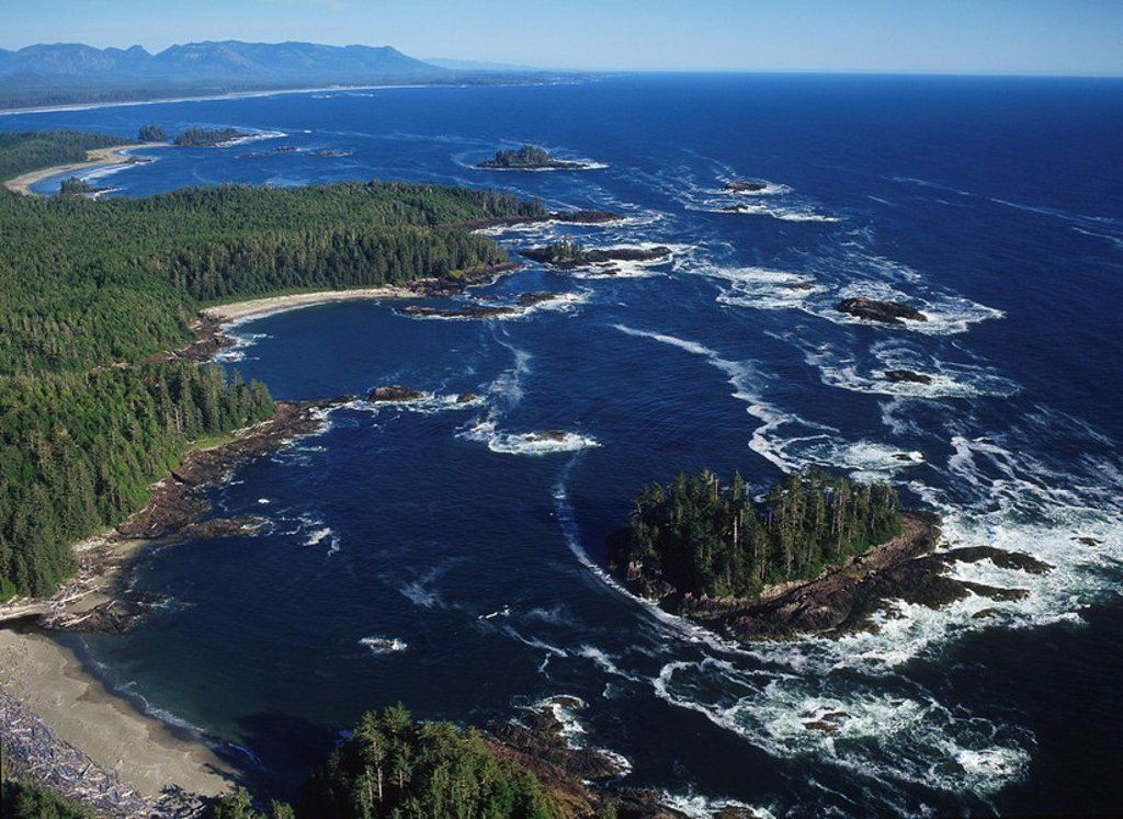 Aerial view of Radar Beaches, Pacific Rim National Park, Vancouver Island, British Columbia, Canada : Stock Photo