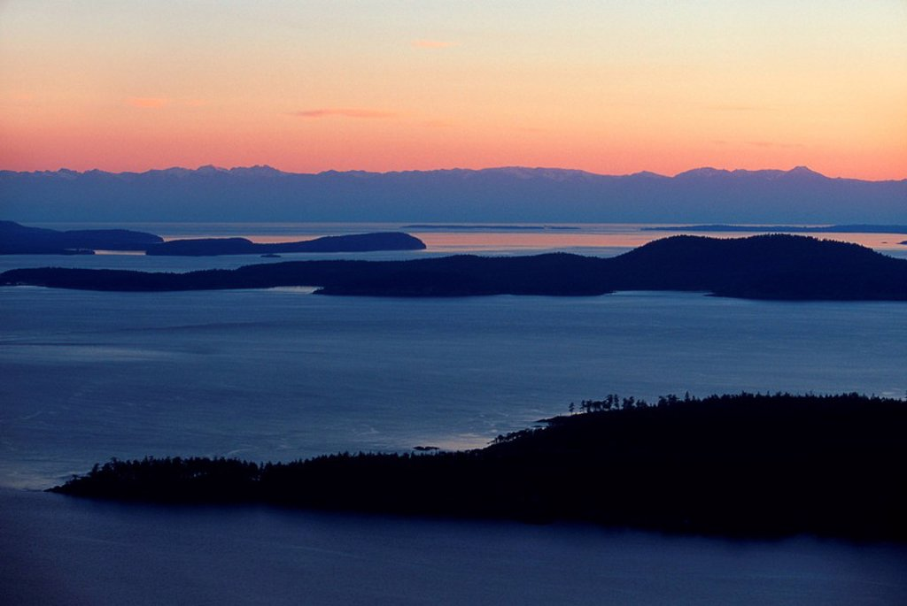 Gulf Islands, Saturna Island, view from Mount Warburton Pike to islands, British Columbia, Canada : Stock Photo