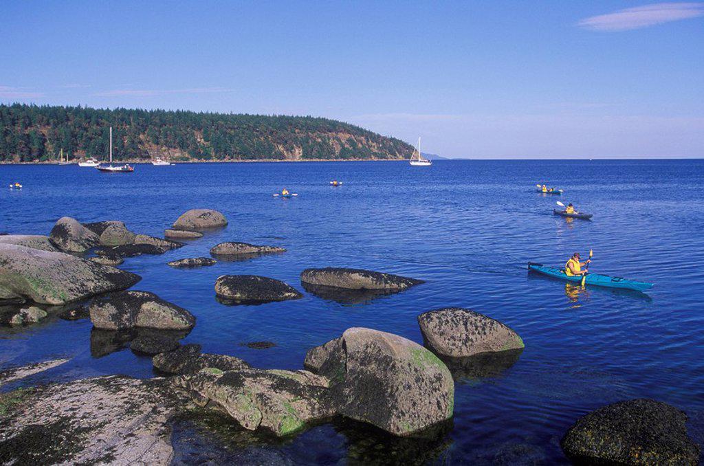 Tribune Bay Park kayakers, Hornby Island, Gulf Islands in Georgia Strait, British Columbia, Canada : Stock Photo