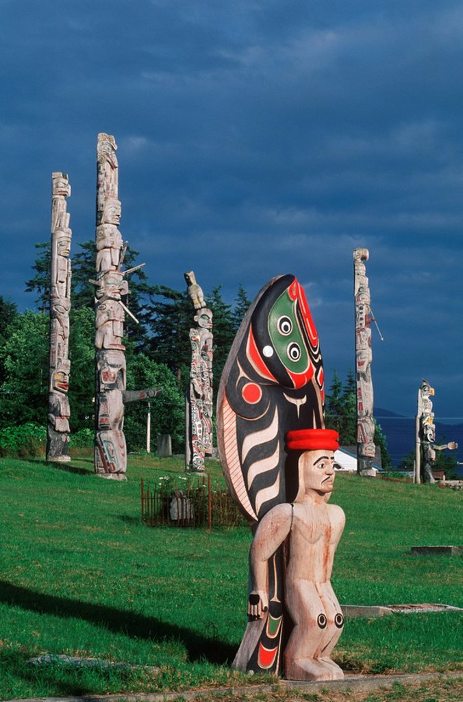 Stock Photo: 1990-23377 First Nations culture  Alert Bay  ´Namgis burial ground totem poles, British Columbia, Canada
