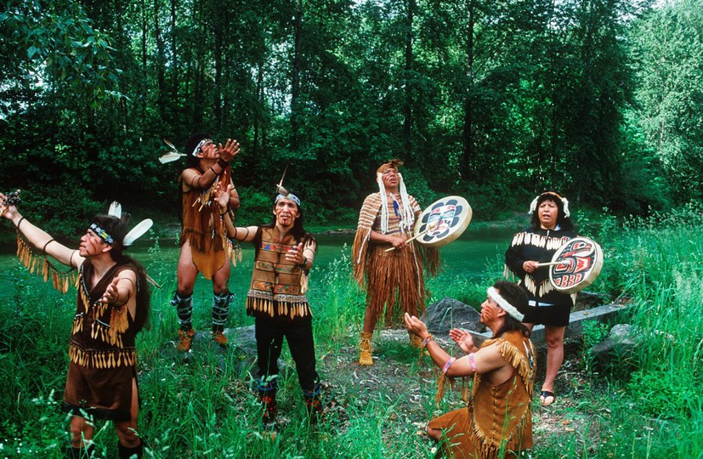 Kowutzun Coast Salish dancers, Duncan, Vancouver Island, British Columbia, Canada : Stock Photo