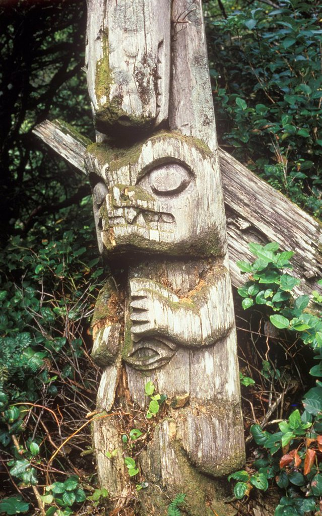 First Nations culture, Nuu-chah-nulth pole in abondoned village : Checleset Islands, British Columbia, Canada : Stock Photo