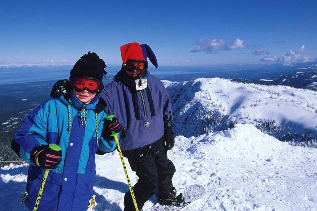 Mount Washington ski resort  Boys at Georgia Strait overlook, Vancouver Island, British Columbia, Canada : Stock Photo